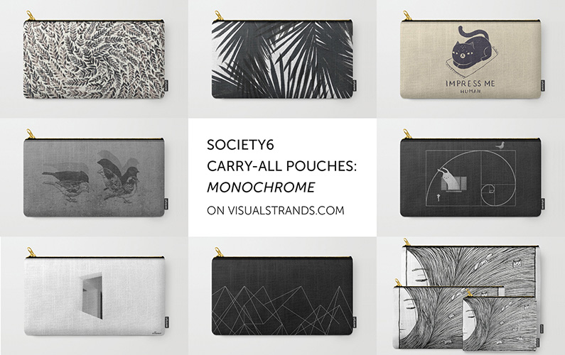 Society6 carry-all pouches: Monochrome